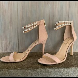 Pink heels with pearl ankle strap